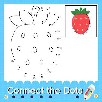 Das erdbeer-kinder-puzzle verbindet das punkt-arbeitsblatt für kinder, die die zahlen 1 bis 20 zählen