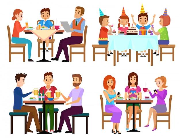 Das essen von erwachsenen und von kindern stellte das sitzen in restaurantcafé oder in bar lokalisierter vektorillustration ein