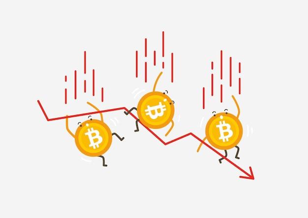 Das fallen von bitcoin-münzen. kryptowährung-cartoon-konzept.