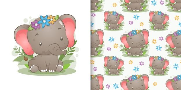 Das farbige elefantenbaby mit der blumenkrone, die auf dem garten der illustration sitzt