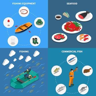 Das fischen der isometrischen illustration, die mit handelsfischsymbolen eingestellt wurde, lokalisierte illustration