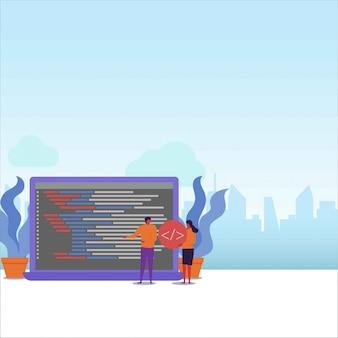 Das flache paar des programmierers arbeitet zusammen, um das programmierprojekt abzuschließen.