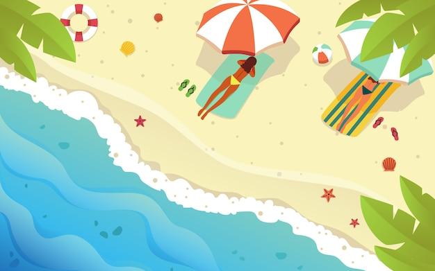 Das flache vektordesign zeigt einige frauen, die sich am strand aalen, um den sonnigen sommer mit ihrem exotischen körper zu genießen.