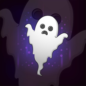 Das fliegende halloween-geist-esport-maskottchen-design der illustration