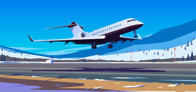 Das flugzeug hebt vom bergflughafen ab