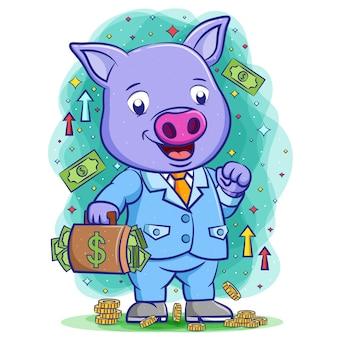 Das fröhliche blaue bossschwein hält die tasche mit viel geld