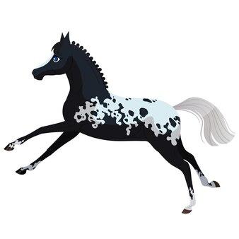 Das fröhliche pferd springt schwarzes pferd mit flecken vector isolierte illustration auf weißem hintergrund