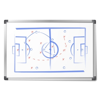 Das fußballtaktikschema wurde mit markierungen auf dem whiteboard gezeichnet