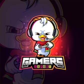 Das gamer-ente-esport-logo-design der illustration