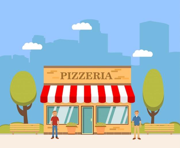 Das gebäude des italienischen restaurants einer pizzeria.