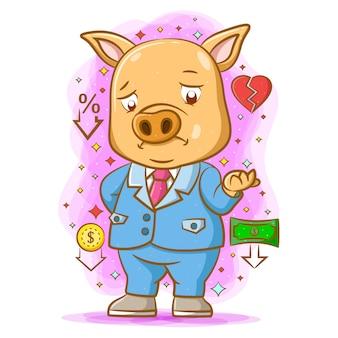 Das gelbe schwein steht mit dem traurigen gesicht, weil es verliert