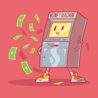 Das geldmaschinen-illustrationsdesignkonzept