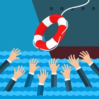 Das geschäft überleben lassen. ertrinkender geschäftsmann, der rettungsring vom großen schiff für hilfe, unterstützung und überleben erhält. flaches design, illustration.