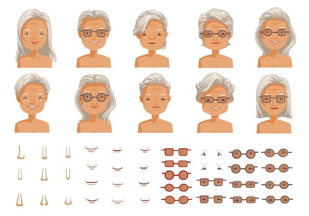 Das gesicht älterer frauen bestimmt die weibliche charaktererstellung von kopf und frisuren