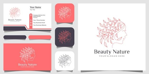 Das gesicht der schönen frau kombiniert blatt mit strichgrafikstil-logo und visitenkartenentwurf.