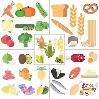 Das gesunde lebensmittel der nahrung der lebensmittelgruppe 5 infographic