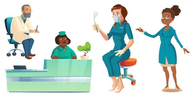Das gesundheitspersonal des krankenhauses, ärzte, krankenschwestern und rezeptionisten in medizinischen gewändern mit medizinischem material