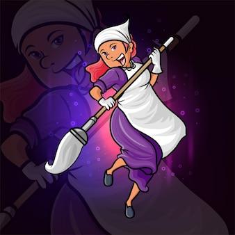 Das glückliche dienstmädchen-esport-logo-design der illustration