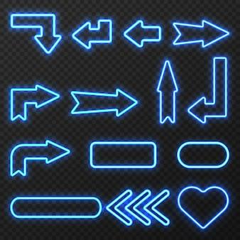 Das glühen in das nachtneonlicht umrissene zeichenpfeile und -symbole, die auf schwarzen hintergrund eingestellt wurden, lokalisierte vektorillustration