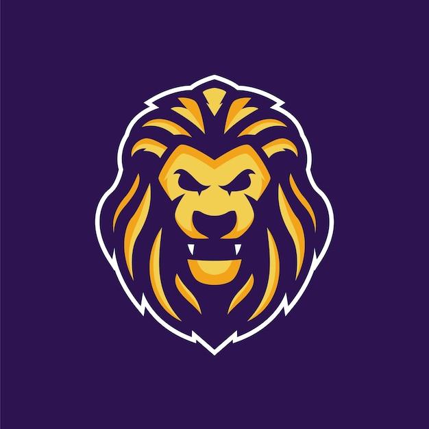 Das goldene löwe-maskottchen-logo