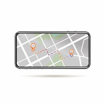 Das gps-symbol a bis b, das in der straßenkarte auf dem mobilen bildschirm dargestellt wird, isoliert weißen hintergrund