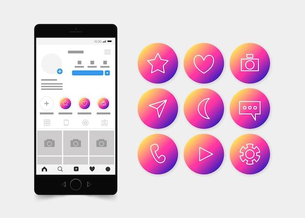 Das gradienten-instagram hebt die sammlung hervor