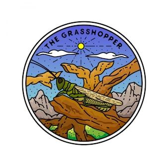 Das grasshopper monoline badge design