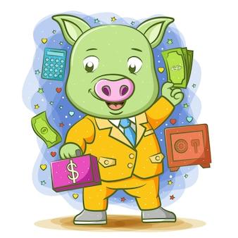 Das grüne buchhalterschwein hält den geldbeutel mit dem großen lächeln in der hand