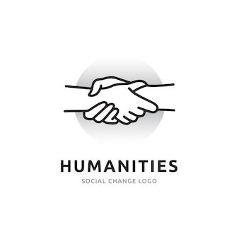 Das handshake-logo für die allgemeine verfügbarkeit von menschen und die interaktion mit der gesellschaft über das netzwerk. icon linien symbolisieren verbindungen zur welt und zu anderen menschen