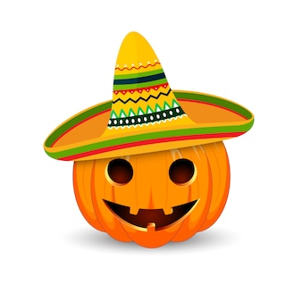 Das hauptsymbol der happy halloween-feiertage. mexikanischer kürbis.