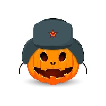 Das hauptsymbol der happy halloween-feiertage. russischer kürbis.