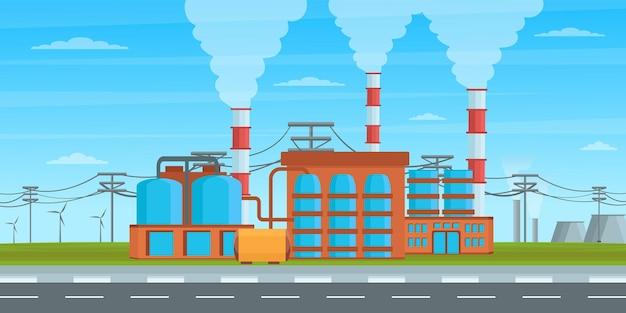 Das hintergrunddesign der produktionsstätte ist optisch perfekt Premium Vektoren
