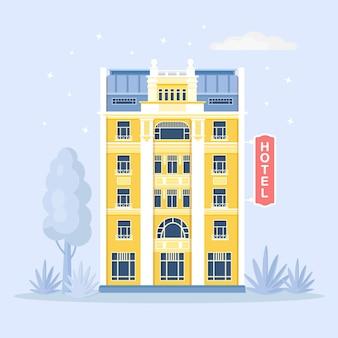 Das hotelgebäude befindet sich in einer stadtstraße