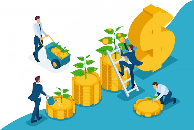 Das isometrische bright-site-konzept spart und erhöht investitionen, kapital und einkommenswachstum. konzept für webdesign