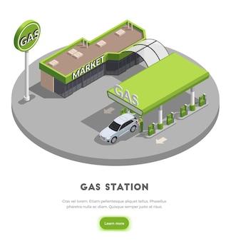 Das isometrische illustrationskonzept der tankstelle mit den bildern des tankstellengebäudes erfahren mehr knopf und text