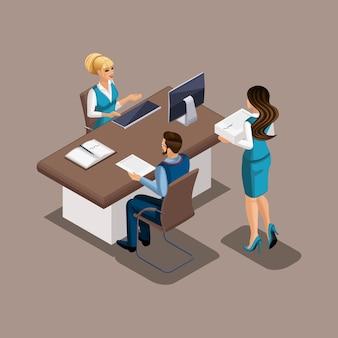 Das isometrische mädchen in der bank verhandelt darüber, einem schneider einen bankkredit zu gewähren, um eine eigene werkstatt zu eröffnen und ein eigenes geschäft zu eröffnen. der unternehmer