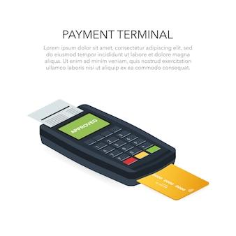 Das isometrische pos-terminal bestätigt die zahlung per debit-kreditkarte. vektor-illustration