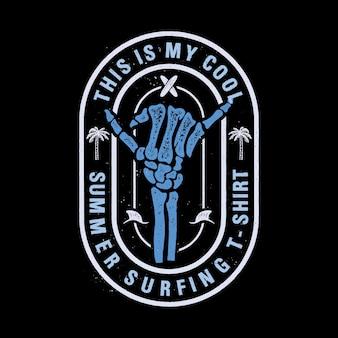 Das ist mein cooles sommersurfen. abenteuer-emblem. skelettarm mit shaka-zeichen.