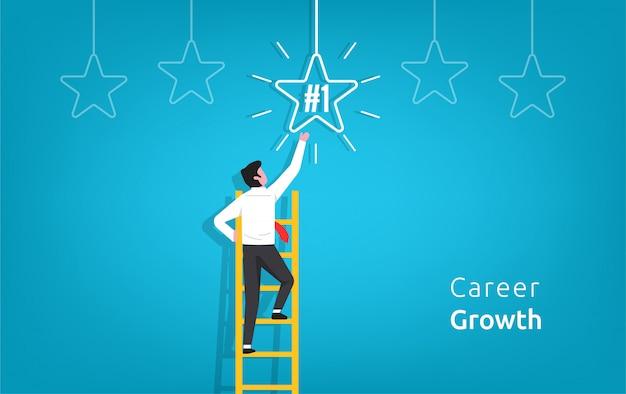 Das karrierewachstum im geschäft mit dem geschäftsmanncharakter, der auf der treppe hinaufgeht, geht zum stern.