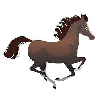 Das kartonpferd läuft im galopp isolierte vektorillustration ponyillustration für kinderbo