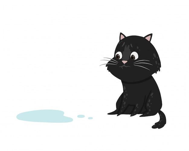 Das katzen-einhorn hat auf den boden gepinkelt