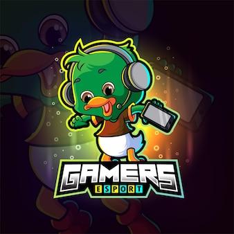 Das kleine gamer-ente-esport-logo-design der illustration