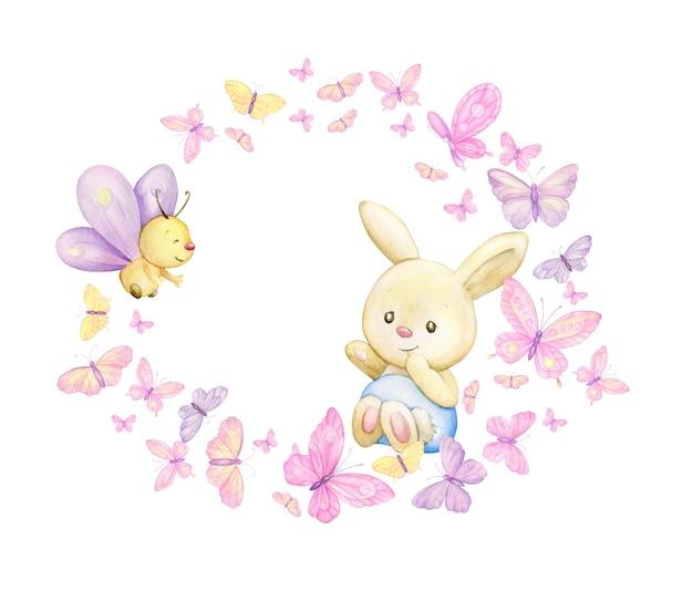 Das kleine kaninchen ist von schmetterlingen und pflanzen umgeben. runder aquarellrahmen auf lokalisiertem hintergrund, im karikaturstil.
