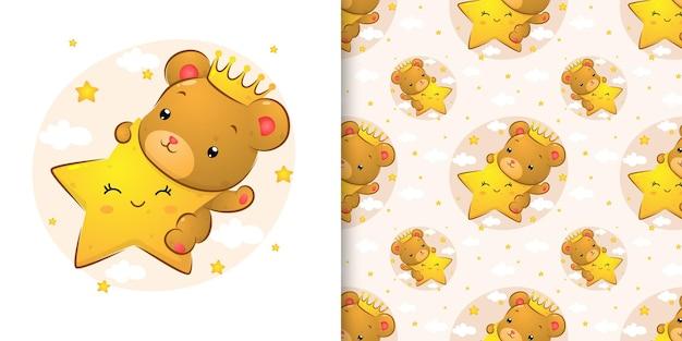 Das kleine königsbaby mit der krone, die den buchtstern mit dem glücklichen gesicht der illustration hält