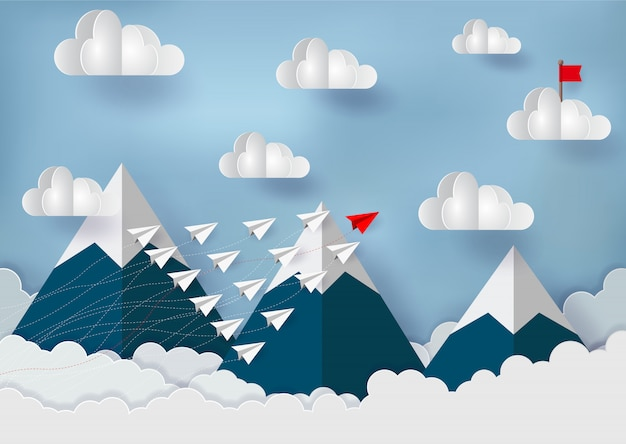 Das konkurrierende papierflugzeug geht zu den roten fahnen auf den wolken