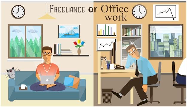 Das konzept der büroarbeit und der freiberufler. szenen von menschen, die im büro arbeiten. innenbüro und wohnzimmer. home office in einem flachen stil. arbeitsbereich für freiberufler.