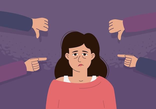 Das konzept der internen kritik, des negativen selbstgesprächs, des mobbings. die depressive frau ist von spöttischen gesten umgeben.