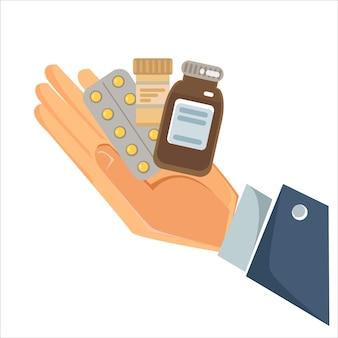 Das konzept der medizin und heilung von krankheit und erkältung eine hand hält einen berg oder einen haufen