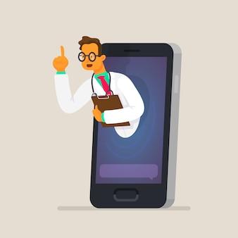 Das konzept der online-konsultation mit einem arzt über ein smartphone. gesundheitspflege
