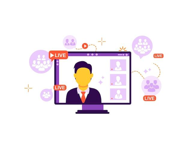 Das konzept der online-sendung, die zuschauer mit dem online-lektions-webinar-training verbindet, vektor isoliert